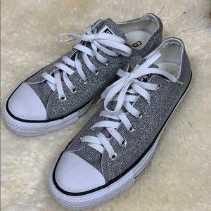 Converse All Star Silver Metallic Sneakers Sz 8.5